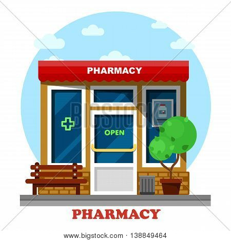 Pharmacy shop or store, drugstore building outdoor side view exterior with cross and flask for pills, bench and garbage can. Can be used as medical and drugs, business and trading theme