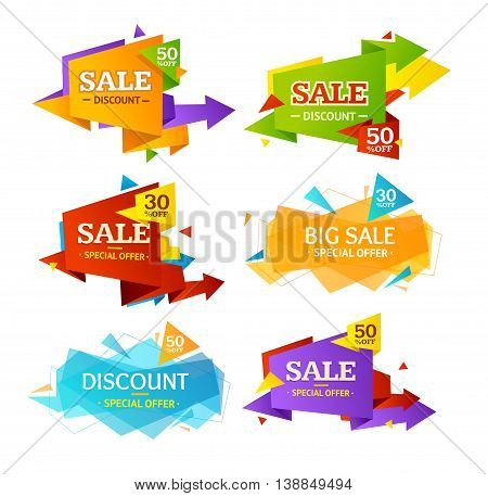 Geometry Origami Sale Label Set Isolated on White Background. Vector illustration