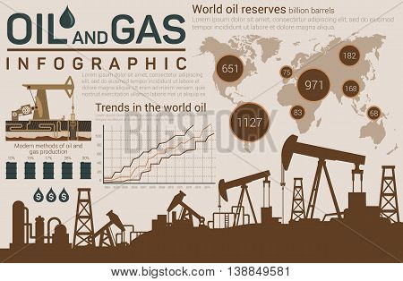 Oil and gas template for infographic with dark silhouettes of pumps below and world map, linear and circle charts, barrels or roll with industrial production and drops with dollar sign