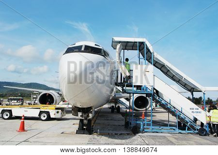Stairs placed at the airplane doors ready for boarding