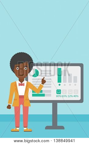 An african-american young business woman pointing at charts on a board during business presentation. Business woman giving a business presentation. Vector flat design illustration. Vertical layout.