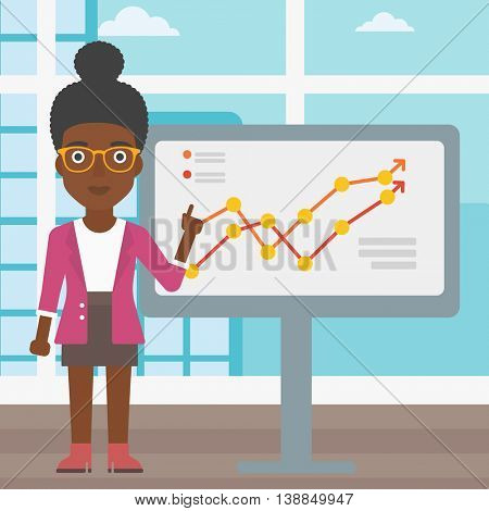 An african-american young business woman pointing at charts on a board during business presentation. Business woman giving a business presentation. Vector flat design illustration. Square layout.