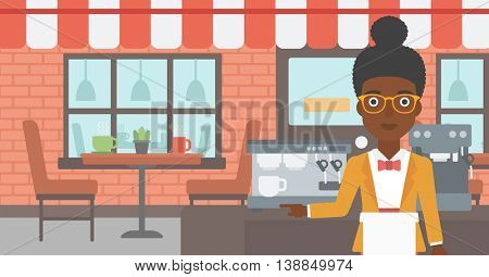 An african-american young female barista sanding in front of coffee machine. Barista at coffee shop. Professional barista making a cup of coffee. Vector flat design illustration. Horizontal layout.