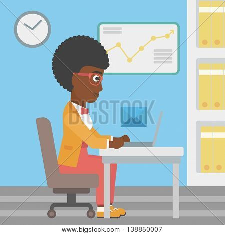 An african-american young business woman working on her laptop in office and receiving or sending email. Business technology, email concept. Vector flat design illustration. Square layout.
