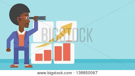 Businessman looking through a spyglass at chart. Man searching the opportunities for business growth. Business vision concept. Business vector flat design illustration. Horizontal layout.