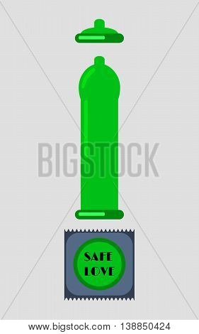 Condom And Packages On White Background. Green Latex Condom. Vector Illustration.