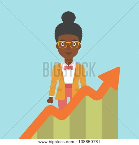 An african-american young business woman standing behind growing chart. Successful business concept. Vector flat design illustration. Square layout.
