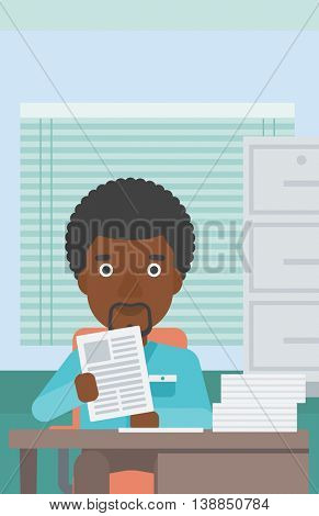 An african-american young human resources manager reading application portfolios in the office. Concept of recruitment of staff, job interview. Vector flat design illustration. Vertical layout.