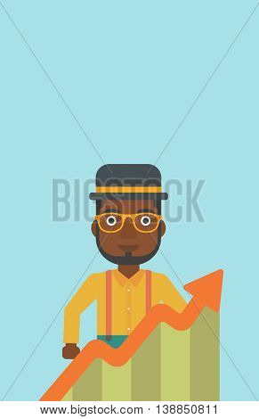 An african-american young businessman standing behind growing chart. Successful business concept. Vector flat design illustration. Vertical layout.