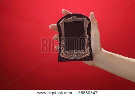 man holding a bronze plate award