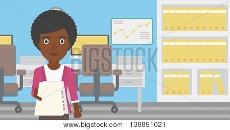 An african-american young business woman giving a resume in office. Woman giving to the employer her curriculum vitae. Job interview concept. Vector flat design illustration. Horizontal layout.
