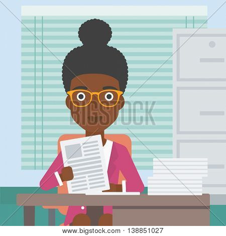 An african-american human resources manager reading application portfolios in the office. Concept of recruitment of staff, job interview. Vector flat design illustration. Square layout.