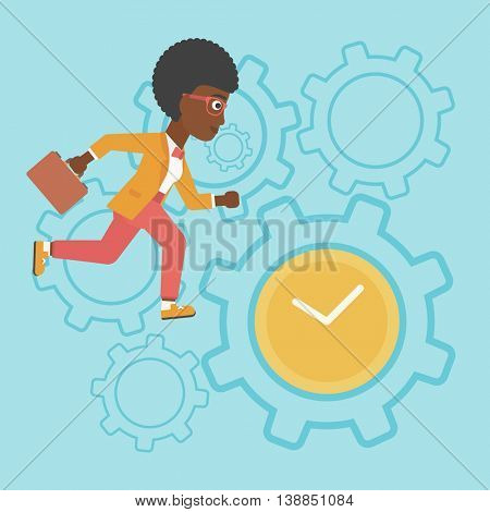 An african-american young business woman with briefcase running on a blue background with clock and cogwheels. Vector flat design illustration. Square layout.