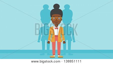 An african-american young woman standing with some shadows behind her. Candidat for a position stand out from crowd. Concept of staff recruitment. Vector flat design illustration. Horizontal layout.