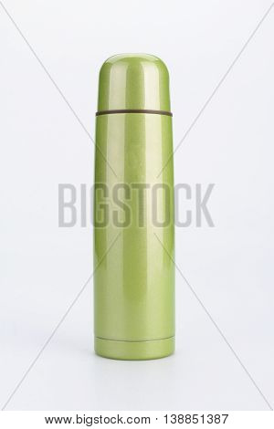 Green Thermos Flash Isolated on White Background