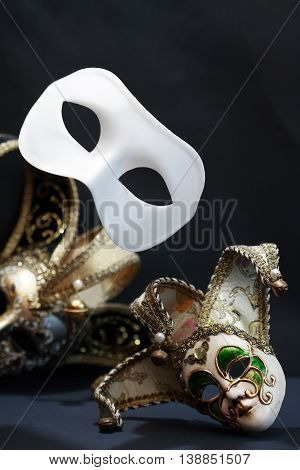 Theater concept. White classical carnival mask. Performance. Flight. Freedom