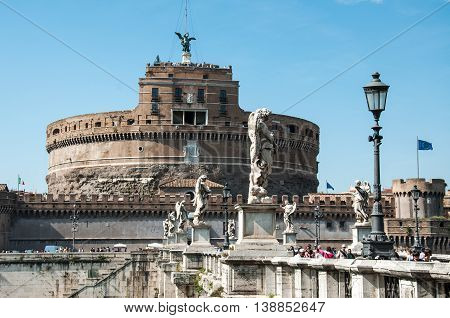 ROME, ITALY - MAY 12, 2012: The Mausoleum of Hadrian usually known as Castel Sant'Angelo is a towering cylindrical building in Parco Adriano Rome