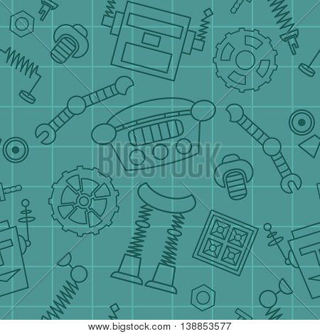 Smart robot parts and details vector background seamless pattern.