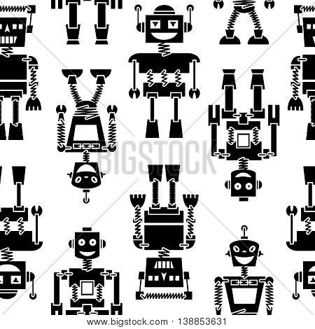 Cute retro robots black silhouette vector background seamless pattern