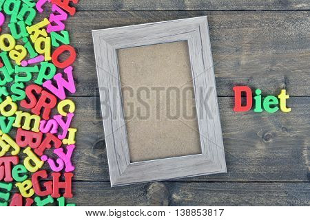 Diet  word on wooden table