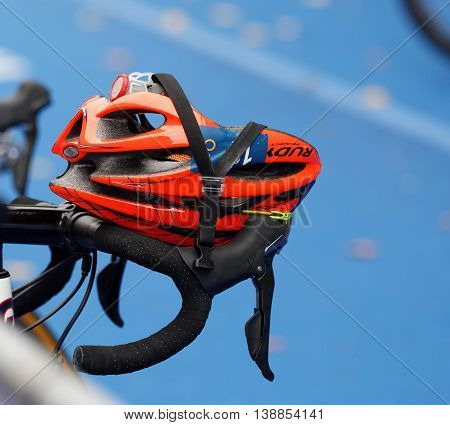 STOCKHOLM - JUL 02 2016: Closeup of a professional triathlon helmet in the Women's ITU World Triathlon series event July 02 2016 in Stockholm Sweden