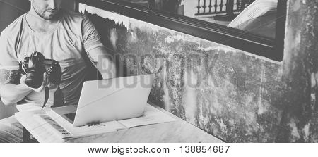 Man Camera Photographer Laptop Photography Concept