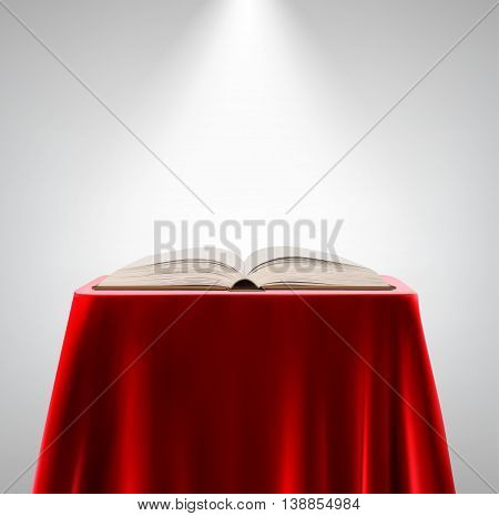 open book on a pedestal  isolated on a white background.  vector illustration