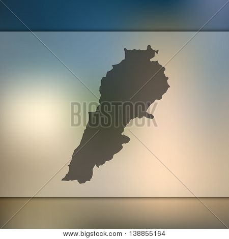 Lebanon map on blurred background. Blurred background with silhouette of Lebanon. Lebanon. Lebanon map. Blurred background.