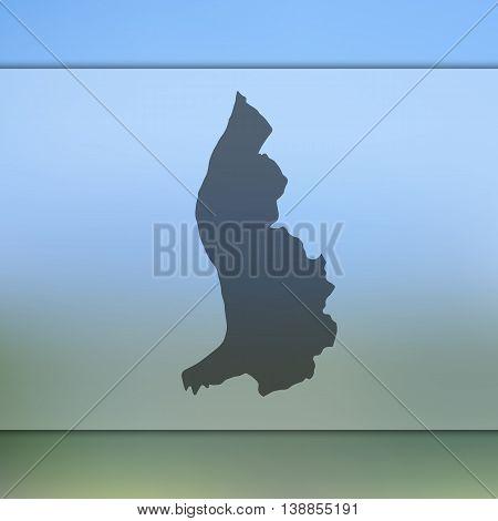 Liechtenstein map on blurred background. Blurred background with silhouette of Liechtenstein. Liechtenstein. Liechtenstein map.