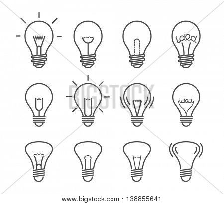 Different light bulb isolated on white vector illustration set. Light lamps icon collection