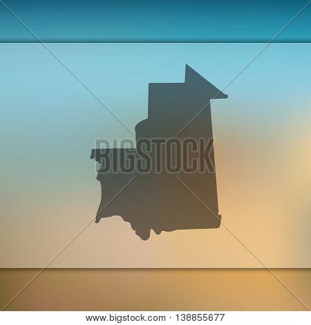 Mauritania map on blurred background. Mauritania. Mauritania map. Blurred background.