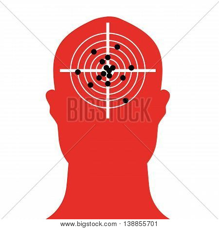 Human head shape in silhouette with a shooting target in the brain area which is full of bullet holes