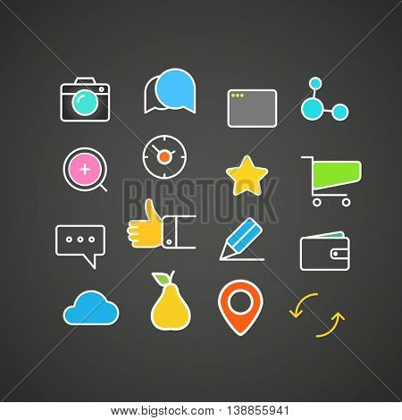 Different simple web icons collection. Flat design application icons