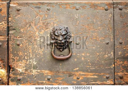 Antique handle with lion head on old wooden door with cracked paint texture