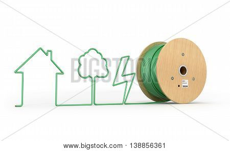 Roll the cable which stretched silhouette isolated white background. 3D Illustration.