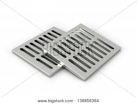Iron pipes play. Drain element court. 3d illustration.