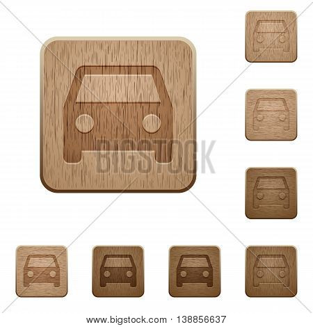 Set of carved wooden car buttons in 8 variations.