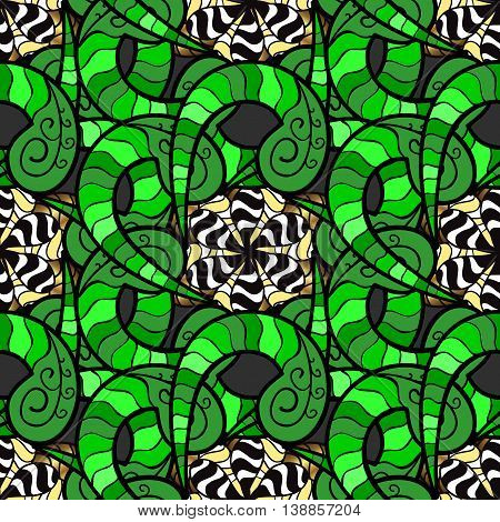 Abstract background with doodles flowers in color green. Vector illustartion.