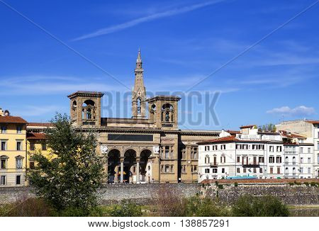 Italy. Florence. The ancient building of national library on Arno River Embankment