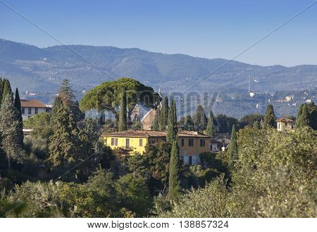 Italy. Florence. View of the green part jf city on top