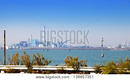 Venice. An industrial landscape on entry into the city