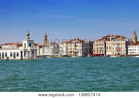 Venice. Italy. Bright ancient buildings ashore Canal Grande