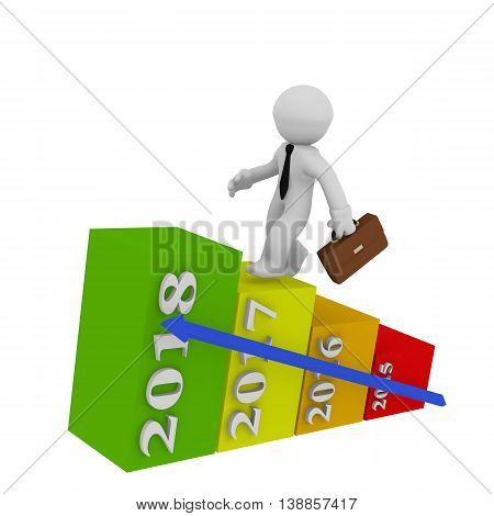 Businessman jumping up stairs to aim high on colorful business graphs 3d rendering