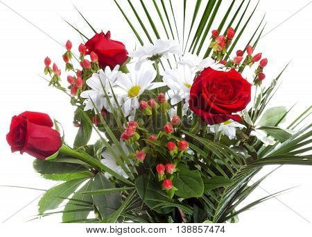 Bright bouquet with chamomiles and roses .