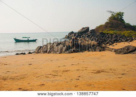 Om Beach. Boats Of Fishermen. Gokarna, Karnataka, India