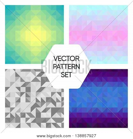 Set of four colorful triangular seamless patterns. 4 vector illustrations.