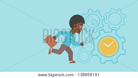 An african-american young businessman with briefcase running on a blue background with clock and cogwheels. Vector flat design illustration. Horizontal layout.