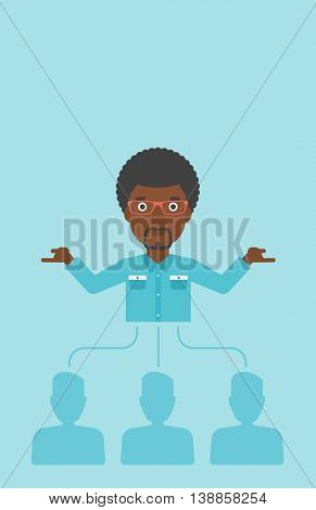 Three employees linked with an african-american businessman. Businessman with the beard choosing employee. Concept of searching for stuff. Vector flat design illustration. Vertical layout.