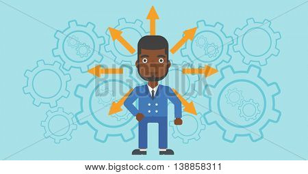 An african-american man with many arrows around his head standing on background with cogwheels. Concept of career choices. Vector flat design illustration. Horizontal layout.