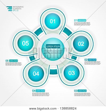 5 step options cycle process diagram. Infographic template for reports, plans, presentation, web. Vector Illustration.